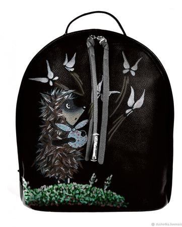 """Рюкзак женский кожаный с ручной росписью из кожи """"Ежик в тумане"""" ручной работы на заказ"""