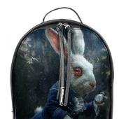 """Рюкзак женский кожаный с ручной росписью из кожи """"Алиса в стране чудес"""""""