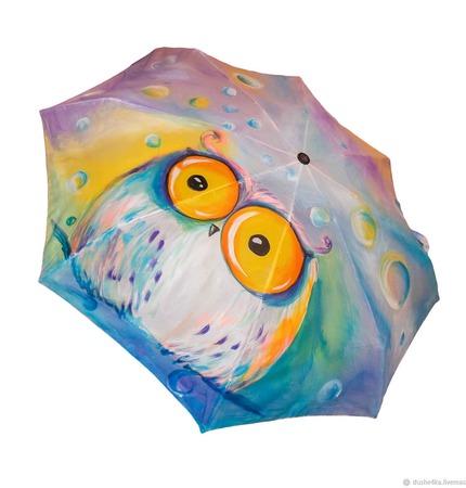 """Зонт с росписью """"Сказочная сова"""" ручной работы на заказ"""
