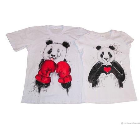 """Парные футболки с росписью """"Панды"""" ручной работы на заказ"""
