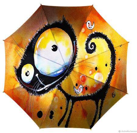 """Зонт  с ручной росписью """"Позитивный кот"""" ручной работы на заказ"""