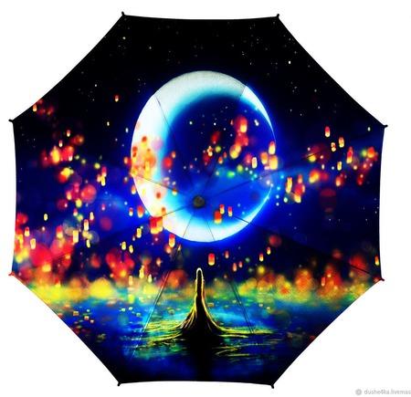 """Зонт с росписью """"Тайны Луны"""" ручной работы на заказ"""