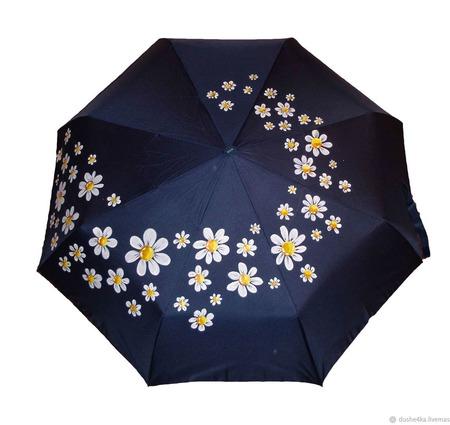 """Зонт  с ручной росписью """"Ромашки"""" ручной работы на заказ"""