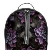 """Рюкзак женский кожаный с росписью """"Енот в цветах"""""""