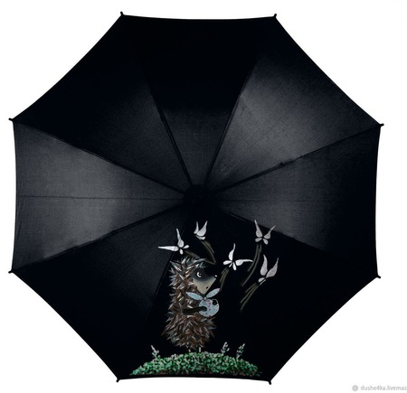 """Зонт с росписью """"Ежик в тумане"""" ручной работы на заказ"""