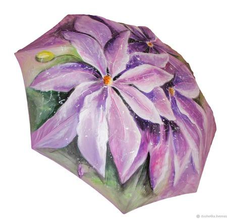 """Зонт с росписью """"Сиреневые цветы"""" ручной работы на заказ"""
