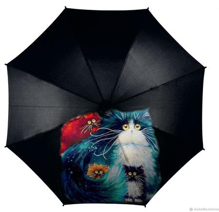 """Зонт с росписью """"Разноцветные коты"""" ручной работы на заказ"""