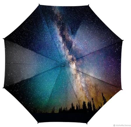 """Зонт с росписью """"Космос и млечный путь"""" ручной работы на заказ"""