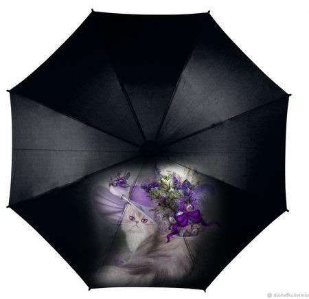 """Зонт с росписью """"Кошка в шляпке"""" ручной работы на заказ"""