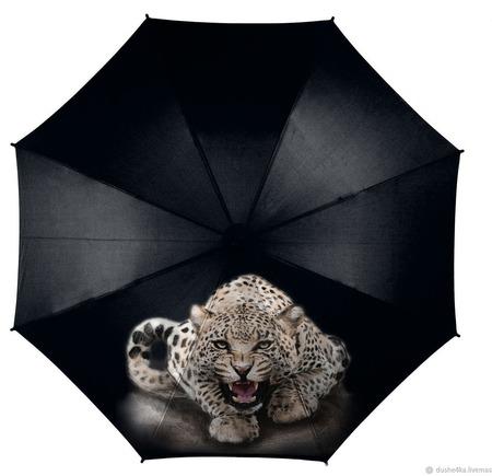 """Зонт с росписью """"Леопард"""" ручной работы на заказ"""