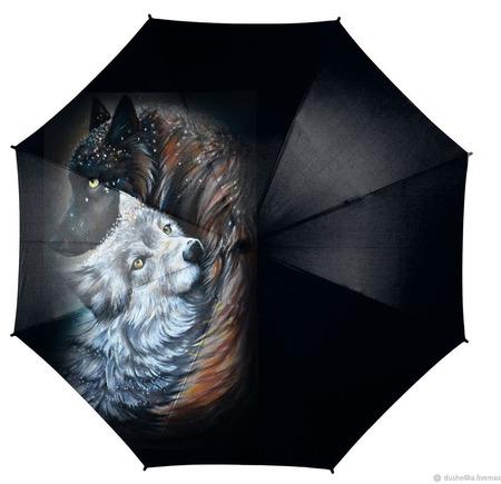 """Зонт с росписью """"Волки: Любовь на всю жизнь"""" ручной работы на заказ"""