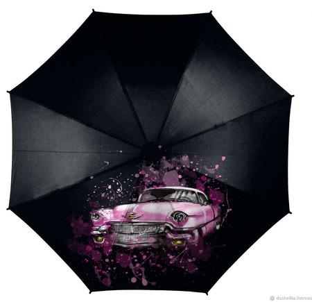 """Зонт с росписью """"Автомобиль кадиллак Элвиса Пресли"""" ручной работы на заказ"""