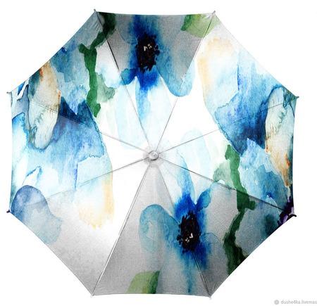 """Зонт с росписью """"Цветы"""" ручной работы на заказ"""