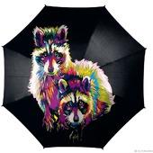 """Зонт с ручной росписью """"Еноты"""""""