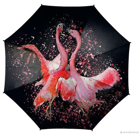 """Зонт с росписью """"Танец фламинго"""" ручной работы на заказ"""