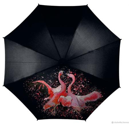 Зонт с росписью Фламинго ручной работы на заказ