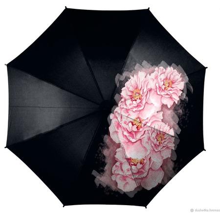 """Зонт с росписью """"Розовые пионы"""" ручной работы на заказ"""