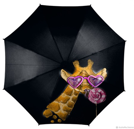 """Зонт с росписью """"Модный жираф"""" ручной работы на заказ"""