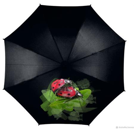 """Зонт с росписью """"Божьи коровки"""" ручной работы на заказ"""