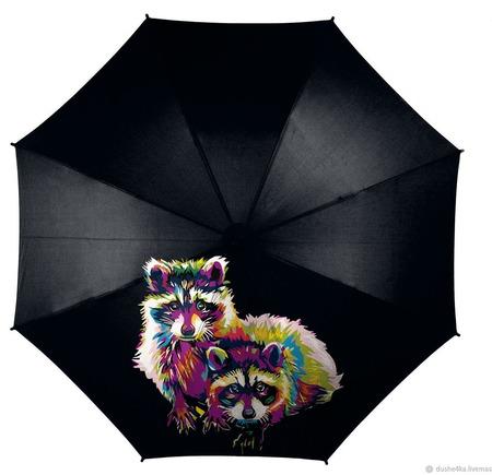 Зонт с росписью Еноты ручной работы на заказ