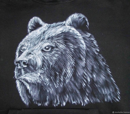 "Толстовка с рисунком на заказ ""Медведь"" ручной работы на заказ"