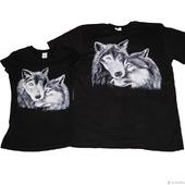 """Парные футболки для влюбленных с росписью """"Волки"""""""