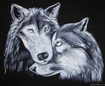 """Парные футболки для влюбленных с росписью """"Волки"""" ручной работы на заказ"""