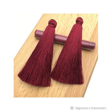 Кисточки для создания серег бордовые ручной работы на заказ