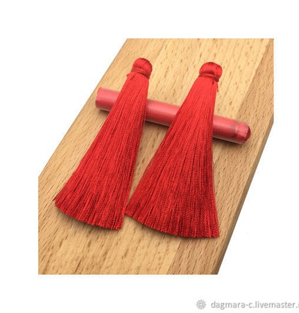 Кисточки для создания сережек алые ручной работы на заказ