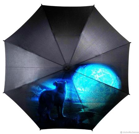 """Зонт с росписью """"Волк и луна"""" ручной работы на заказ"""