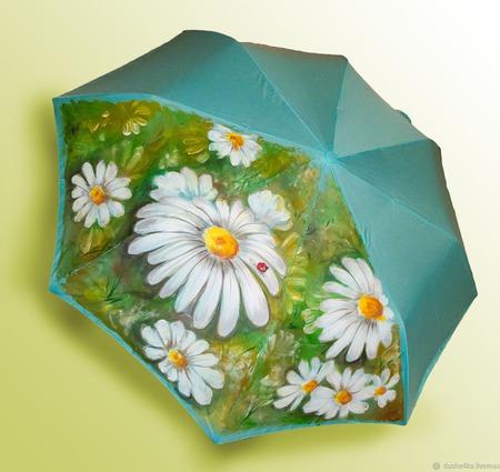 """Зонт с росписью """"Ромашки"""" ручной работы на заказ"""