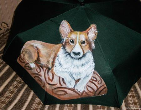 """Зонт с росписью с портретом любимца по фото """"Корги"""" ручной работы на заказ"""