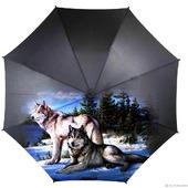 Зонт с росписью Волки