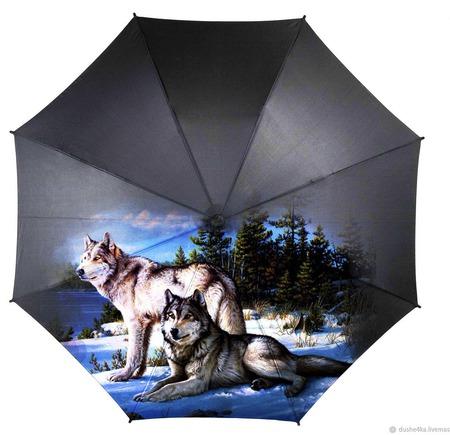 """Зонт с росписью """"Волки"""" ручной работы на заказ"""