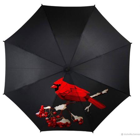"Зонт с росписью ""Красная птица"" ручной работы на заказ"