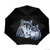 """Зонт с росписью """"Влюбленные волки"""""""
