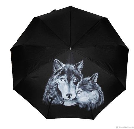 """Зонт с росписью """"Влюбленные волки"""" ручной работы на заказ"""