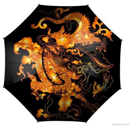 """Зонт с росписью """"Золотой дракон"""" ручной работы на заказ"""