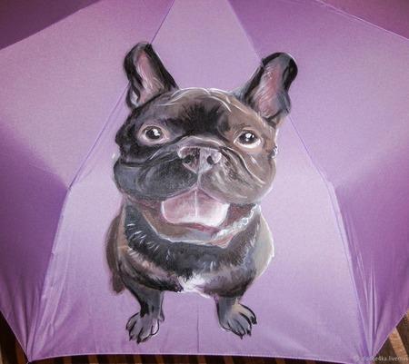 """Зонт с ручной росписью """"Французский бульдог"""" ручной работы на заказ"""