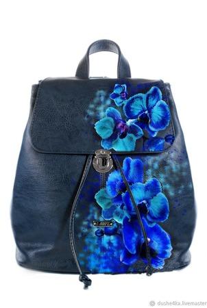 """Рюкзак женский с ручной росписью из экокожи """"Орхидеи"""" ручной работы на заказ"""