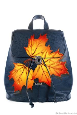 """Рюкзак женский с ручной росписью из экокожи """"Осенние листья"""" ручной работы на заказ"""