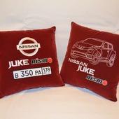 Подушка автомобильная. Nissan. Машинная вышивка