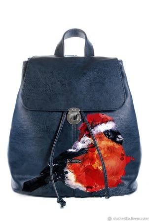 """Рюкзак женский с ручной росписью из экокожи """"Снегирь"""" ручной работы на заказ"""