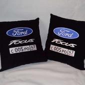 Подушка автомобильная. Ford. Машинная вышивка