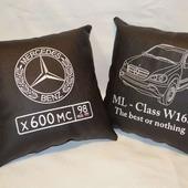 Подушка автомобильная. Mercedes. Машинная вышивка