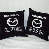 Подушка автомобильная. Mazda. Машинная вышивка