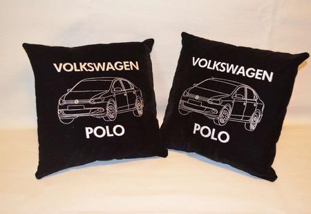 Подушка автомобильная. Volkswagen. Машинная вышивка ручной работы на заказ