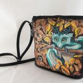 """Маленькая женская сумка из экокожи с росписью """"Дракончик"""""""