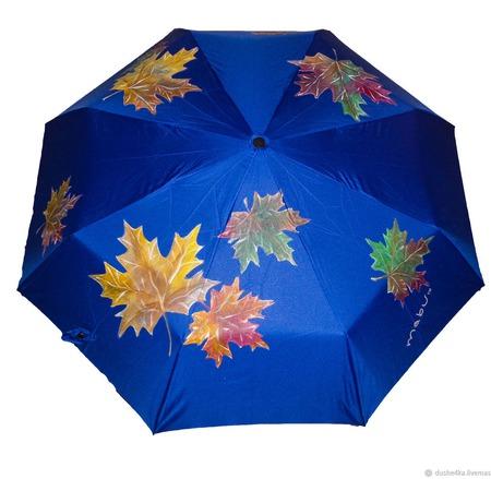 """Зонт с росписью """"Осенние листья"""" ручной работы на заказ"""