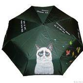 """Зонт с ручной росписью """"Угрюмый кот"""" (Grumpy Cat)"""